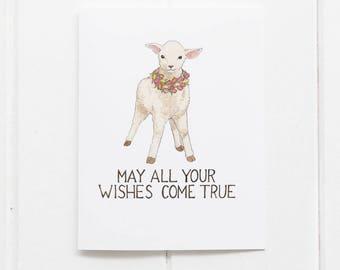 Lamb Birthday Card / Birthday Card / Greeting Card / Lamb Card / Best Wishes / Farm Birthday Card / Lambs / Sweet Birthday Card / Knitter