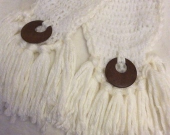 crochet scarf , white and cream with wooden detail