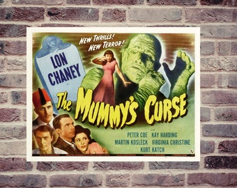 The mummy's curse. Horror movie poster. Vintage movie poster. Movie poster.