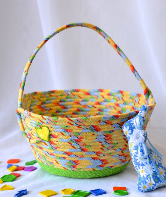 Boy Easter Basket, Handmade Yellow Easter Bucket, Cute Lego Storage Bin, Baby Boy First Easter Basket, Toy Storage Handled