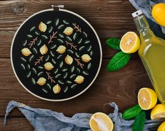 Lemons - Modern cross stitch pattern PDF - Instant download