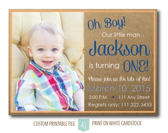 First Birthday Invitation with Photo- Birthday Party Invite- Special Birthday- Printable File- Do it Yourself Party Invite