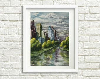 Gift|for|husband gift|for|him New York art Landscape painting Watercolor painting New York skyline painting New York City skyline art decor