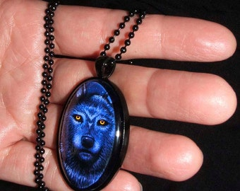 Gothic Blue Wolf Yellow Eyes Gothic Glass Cameo Necklace
