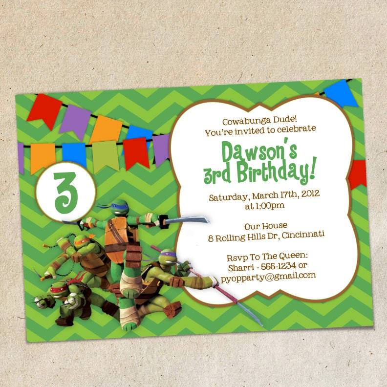 Teenage Mutant Ninja Turtles Invitation Template Instant