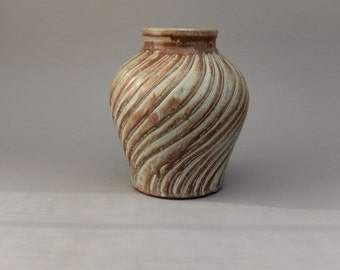 Pottery Vase - Glazed Terracotta Ceramic - Hand Carved Vessel
