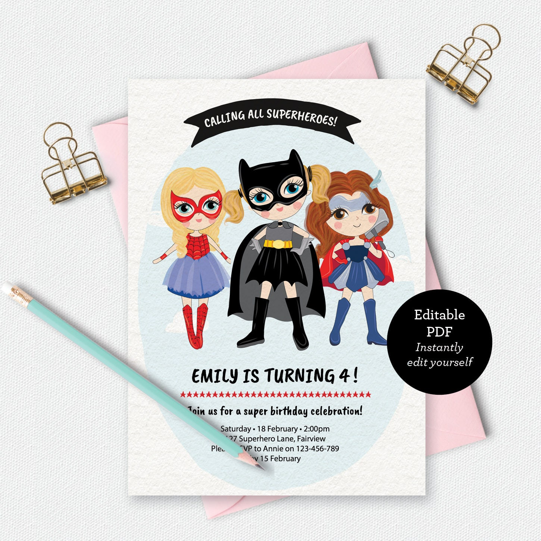 Birthday Invitation template invitation Superhero