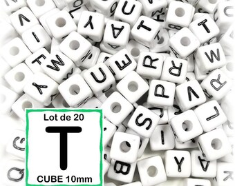 "20 beads 10 mm - 10mm cube letter beads alphabet ""T"""