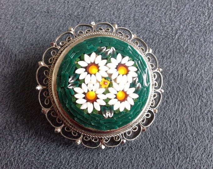 Italian Micro Mosaic Millefiori Glass & Silver Tone Filigree White and Emerald Green Daisy Brooch c 1940's