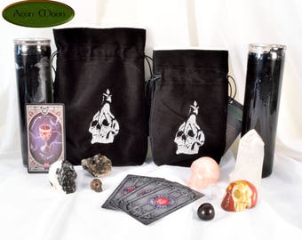 Skull and Candle - All Natural Cotton Velvet and Silk Tarot, Oracle, or Crystal bag