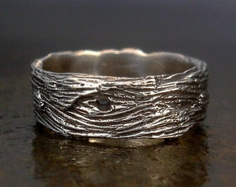 Driftwood Woodgrain Unisex Mens Ring - Sterling Silver Wide Band - Sizes 7, 7.5, 8, 8.5, 9, 9.5, 10, 10.5, 11, 11.5, 12, 12.5, 13, 13.5, 14