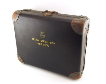 Vintage philips service case. Television vacuum tubes bulb storage, repairman's storage toolbox, radio / tv tube box case