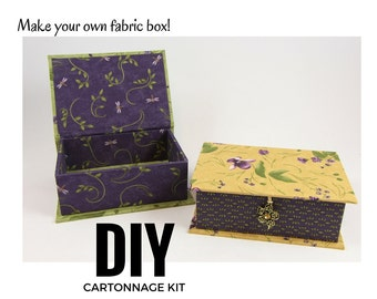 Fabric covered box DIY kit, fabric box kit, cartonnage kit, small box  (DIY kit 102), Online instructions included