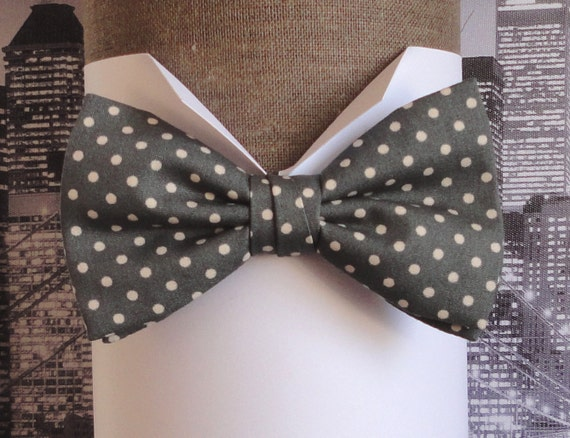 Grey, beige spot bow tie, bow ties for men, men's bow tie, pre tied or self tie bow tie