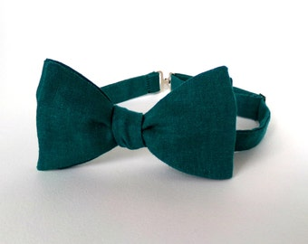 Teal Linen Bow Tie Self Tie Blue Green Turquoise Navy Blue Summer Wedding Solid Natural Organic Outdoor Casual Men Accessory Boys Bowtie Tie