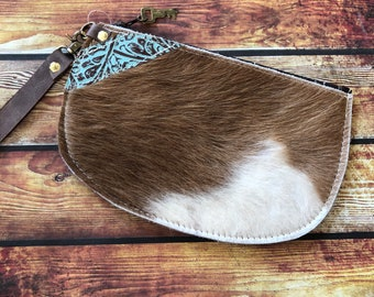 SHIPS TODAY Cowhide Leather Wristlet