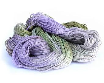 Pre-Order Double knitting yarn, hand dyed DK baby alpaca linen silk blend light worsted yarn skein, Perran Yarns, Sweet Pea purple green, uk