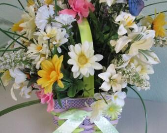 Easter Basket Silkflower arrangement Centerpiece Spring OOAK