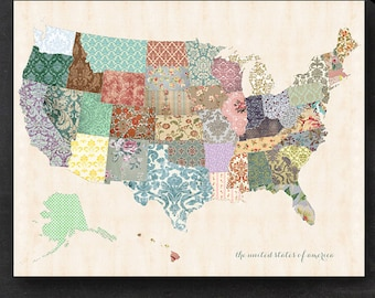 "Printable United States Map - 11"" x 14"" Shabby Chic PDF - Nursery Decor Homeschool Classroom Geography"