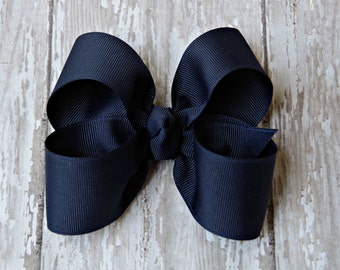 "Navy Hairbow Navy Large Hair Bow 4"" Alligator Clip Girls Hairbow Navy Hair Bow Navy Large Bow 4 Inch Navy Hair Bow"