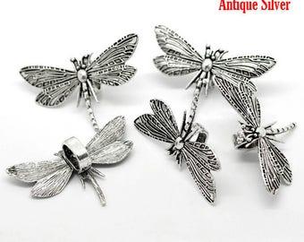 5 gorgeous pendants Dragonfly etched zinc alloy - cadmium