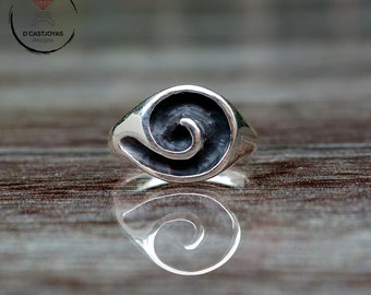 Spiral silver seal ring, Celtic spiral talisman, Boho style, Celtic spiral, Mens jewelry, Handcrafted ring, Celtic jewelry