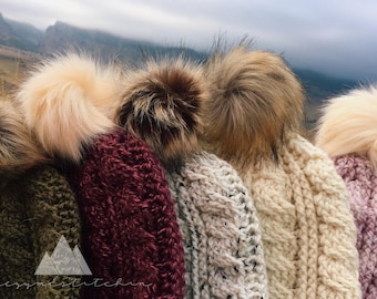 THE SUMMIT - crochet cabled beanie with faux fur pom