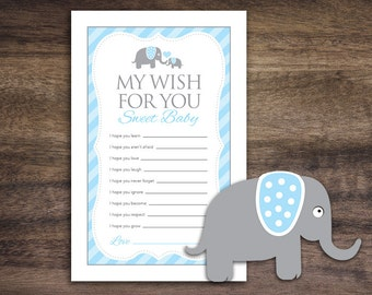 Instant Download Blue Elephant Theme Baby Shower Wishes for Baby Cards, Printable Wish Party Sheets for Boy, Cute Blue Grey Stripes Card 22C