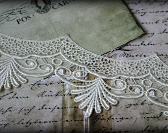 """Tresors  White  Venice Fabric Embroidered Guipure Bridal Scalloped Craft Lace Trim LA-114 10% off """"SUMMER10"""" at checkout"""
