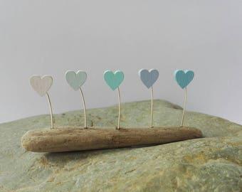 Folk art driftwood sculpture with ombre hearts. Pastel shades... Sea Breeze. Nautical decoration. Seaside beach art. Coastal decoration
