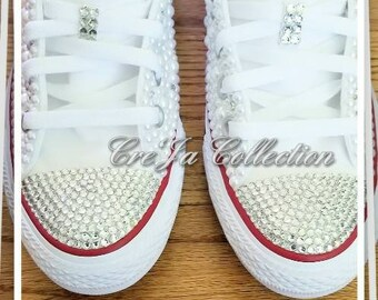 Personalized Converse, Wedding Converse, Pearl Converse, Bridal Converse, Wedding Sneakers,Bridal Sneakers, Mr and Mrs converse