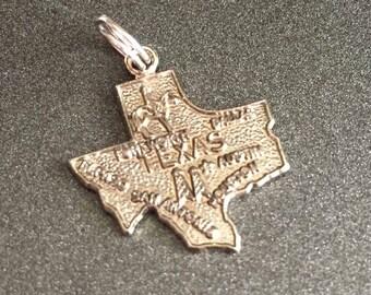 Sterling Silver Texas State Charm, Vintage Bracelet Charm, Vintage Charm, Fort Worth, Dallas, El Paso, San Antonio, Austin, Houston