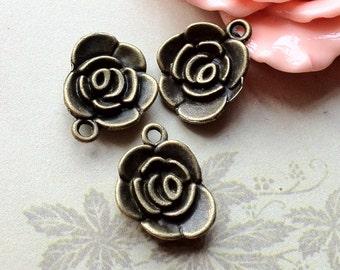 18 x 14 mm Antique Bronze Rose Charm Pendants (.am)