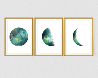 Set of 3 Moon phases print, Instant download, 8x10 and A4, Moon art, Space print, Green