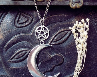 Moon Necklace, Pentagram Necklace, Moon and Pentagram, Witch Necklace, Crescent Moon, Waning Moon, Luna