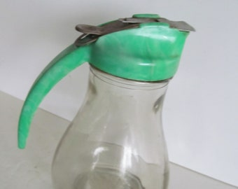 Maple Syrup Pitcher Container Vintage art deco Green Kitchen Glass Pitcher New Hampshire Maple Syrup