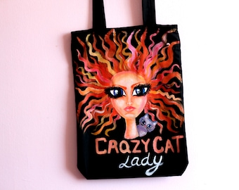 Cat lover bag Cat bag Crazy cat lady bag Gift for cat lover Cat tote bag Hand painted cat bag Cat lady tote Hand painted cat lady tote bag