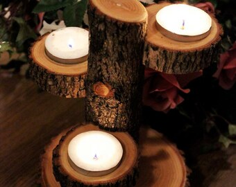 Table Centerpiece Candle Holder, Unique Tiered Stand / Rustic Wedding / Home Decor Tree