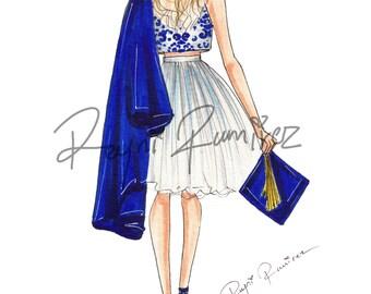 Graduated Illustration, fashion graduated print, illustration decor, graduated wall art, graduated gift, blonde girl illustration