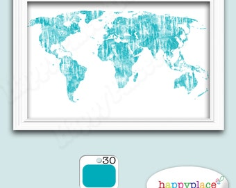 Very large custom world map print with watercolour texture custom world map colourful world map print suit office or home decor aqua gumiabroncs Image collections