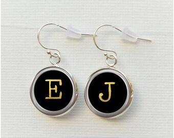 Typewriter Key Earrings - Gift for Journalist Writer -Letter Numbers Personalized Initial silver black - dangle earrings