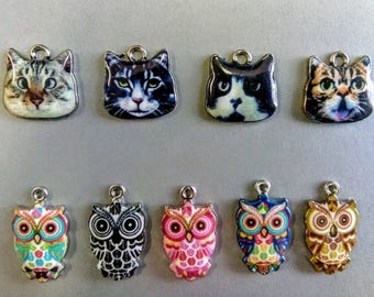 Pendants cats and owls