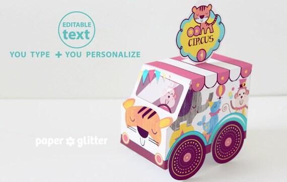 Carnival Toy Box Pink: Circus Carnival Truck Van Favor Box Paper Toy Pink Printable