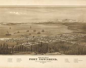 Port Townsend, Jefferson CO., Washington, W.A, Puget-Sound, 1878. Vintage reproduction bird's eye view map print.  Varies sizes available.