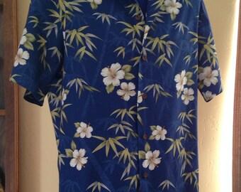Nice Hawaiian Royal Blue Hibiscus and Bamboo Designed Shirt by RJC Ltd., Hawaii