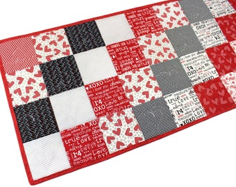 "Valentines Quilted Table Runner -  Red, White and Black ""First Crush"" Charm Squares, Valentines Day Table Runner Quilt, Quiltsy Handmade"