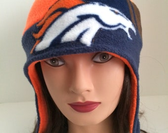 Broncos Denver Broncos handmade ear flap hat hat cap fleece orange blue