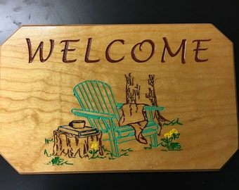 Welcome Sign (Adirondack Chair)