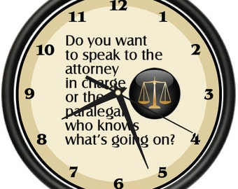 Paralegal Wall Clock Law Office Study Funny Gift