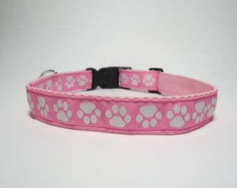 Handmade Dog Collar - Pink Glitter Paws